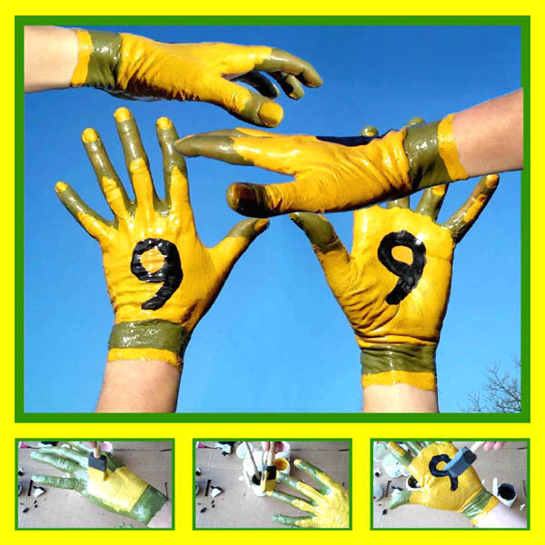 Canary Yellow Football Gloves