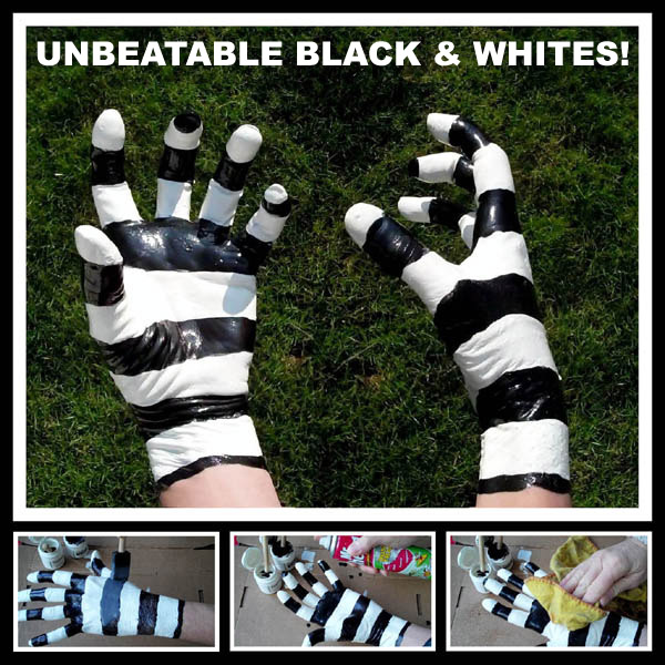 Black and White Latex Football Gloves