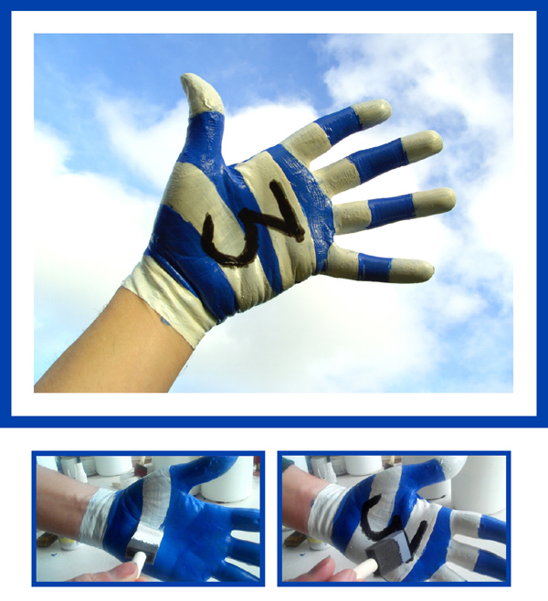 Blue and White Latex Gloves