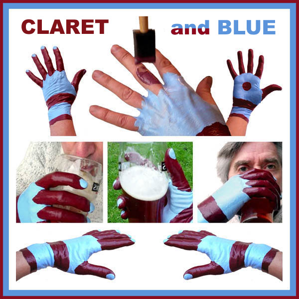 Claret and Blue Latex Football Glove